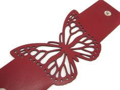 Laser cut leather cuff bracelet  butterfly in red by EmilydeMolly
