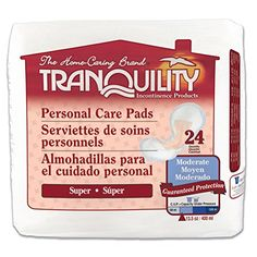 Tranquility Incontinence Personal Care Pads for Men or Women - Super - 24 ct:   Tranquility Personal Care Incontinence Pads are worn in regular underwear and have three levels of absorbency (Super, Ultimate, Overnight) to meet individual needs. The soft,