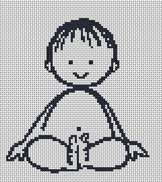 Free baby boy cross stitch chart for Nursery