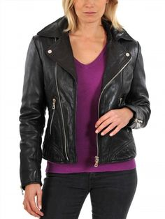 117.66$  Watch now - http://vipwk.justgood.pw/vig/item.php?t=tko9hl32769 - Leather Motorcycle Jacket Women's Real Lambskin Soft Leather Biker Jacket WJ119 117.66$