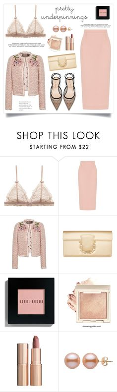 """The Prettiest Underpinnings"" by alinepinkskirt on Polyvore featuring Roland Mouret, Giambattista Valli, Salvatore Ferragamo, Bobbi Brown Cosmetics and Charlotte Tilbury"