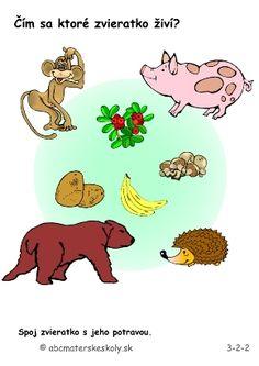 Čím sa ktoré zvieratko živí - pracovný list ABC materská škola Winnie The Pooh, Disney Characters, Fictional Characters, Comics, Ms, Books, Cards, Libros, Winnie The Pooh Ears