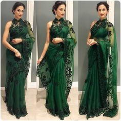 4 Ways of doing fringe the desi way Sarees Organza saree green color ki saree - Green Things Lace Saree, Organza Saree, Indian Fashion Trends, Indian Designer Outfits, Indian Dresses, Indian Outfits, Anarkali, Lehenga, Indie Mode