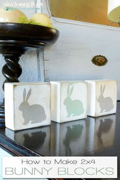 2x4 Bunny Blocks | Make these simple bunny blocks out of scrap wood and paint. The perfect little addition to your Easter decor.
