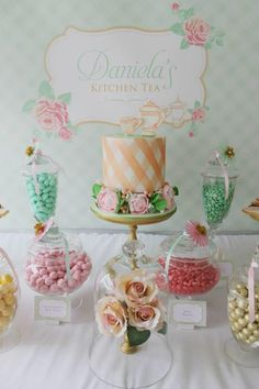 A beautiful Tea Party Bridal Shower from Events by Nat in Sydney Australia, with pink, mint and gold colors.