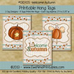 INSTANT DOWNLOAD  Printable Hang Tags  Welcome by ewenmeprintables