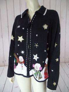 DESIGNERS ORIGINALS STUDIO JOY Ugly Christmas Sweater XL Zip Front Stars FESTIVE