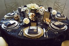 Great Gatsby navy and gold tablescape