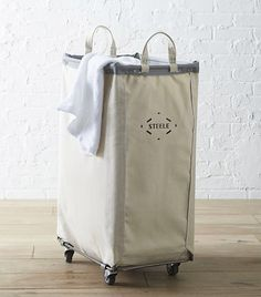 Crate and Barrel Steele Vertical Canvas Laundry Bin for Closet Organization