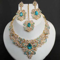 indian head jewelry tikka | 4PC INDIAN JODHA AKBAR GOLD PLATED KUNDAN BRIDAL SARI JEWELRY NECKLACE ...