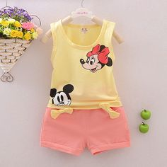 AILEEKISS 2018 Hot Sales Children Summer Clothes Sets Baby Girls Floral Vest Top Shorts Pants For Mickey Kids Clothing Sets. Boys And Girls Clothes, Unisex Baby Clothes, Toddler Girl Outfits, Toddler Girls, Baby Outfits, Vetements T Shirt, Animal Print T Shirts, Cartoon Outfits, Kids Suits