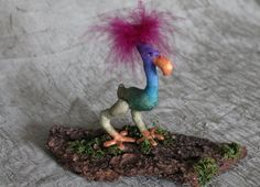 flightless bird sculpture OoAK cloth art by ToadstoolsNTreestump