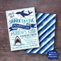 Shark Invitation Shark Birthday Invitation by BloomberryDesigns