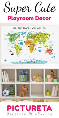 This super cute world map for kids will make an amazing educational playroom decor that will let your child discover our world's continents, animals and landmarks. #playroomdecor