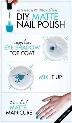 Fabriquez votre propre vernis mat avec un peu d'ombre à paupières. | 24 idées de manucures très faciles à réaliser