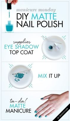 Make your own matte polish with a little eye shadow. | 27 Lazy Girl Nail Art Ideas That Are Actually Easy