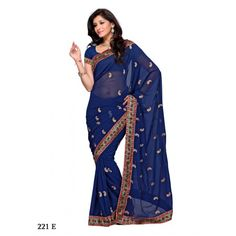 Dark royal blue color party wear saree made from Georgette fabric. The saree has mango shape butti all over it's drape and body The border of the saree is with tri color stripes on it, all this makes it a wonderful party or festival wear saree. With 0.8 mtr unstitched blouse http://www.craftsvilla.com/sarees-sari/royal-blue-georgette-saree-with-exclusive-work-and-border-122edf-online-shopping-for-georgette-sarees-by-muhenera.html