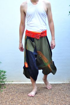 Thai Style Black and Green Design Cotton Pants  New by SiamTrendy