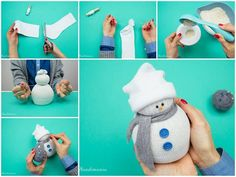 Creative ideas - diy easy no-sew sock snowman Sock Crafts, Holiday Crafts, Fun Crafts, Crafts For Kids, Christmas Fun, Holiday Fun, Christmas Decorations, Christmas Ornaments, Snowman Diy