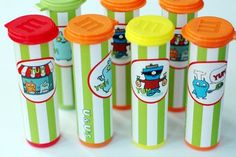 m containers~ could decorate them for halloween 1st Birthday Foods, 1st Birthday Parties, Birthday Ideas, Monster 1st Birthdays, First Birthdays, Candyland, Monster Treats, Ugly Dolls, Safari Party