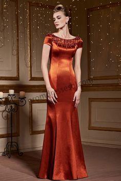 Orange Round Neck Short Sleeve Bead Fishtail Formal Dress SY025