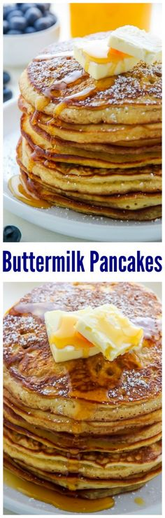 My favorite recipe for fluffy homemade buttermilk pancakes! SO EASY.