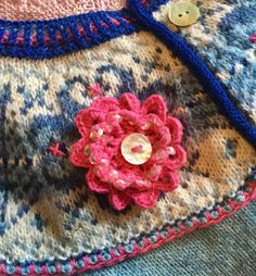 Faire Isle vintage style wool yoke with beadwork and embroidery added crochet floral motif