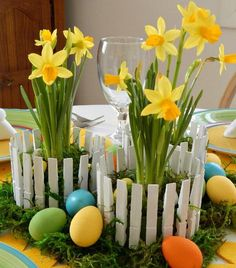 Sweet and Inexpensive Easter Centerpiece made from something recycled