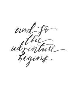 Adventure Print - Inspirational Quote - Black White Print - Travel Wall Art - Nursery Decor - And So The Adventure Begins - Wedding Decor