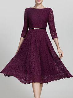 Lace Elegant Sheath Pierced 3/4 Sleeve Midi Dress - AdoreWe.com