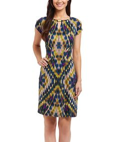 This Olive & Teal Geometric Ikat Keyhole Sheath Dress by Shelby & Palmer is perfect! #zulilyfinds