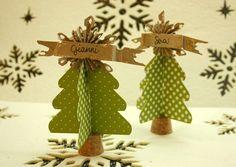 SEGNAPOSTI NATALIZI by Sara Dafne-- pattern for interlocking trees. Glue onto cork (yeah for recycle/reuse!) Topper with any pretty shiny thing :) Christmas Minis, Christmas Baby, Handmade Christmas, Christmas Holidays, Paper Christmas Decorations, Xmas Wreaths, Navidad Diy, Christmas Templates, Xmas Ornaments