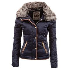 Chic Turn-Down Neck Long Sleeve Pocket Design Women's Padded Coat
