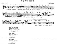 popěvek kuřátek Ems, Music Notes, Activities For Kids, Sheet Music, Songs, School, Children Activities, Kid Activities, Petite Section