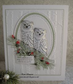 Paper Crafts Card making Christmas Cards 2018, Christmas Card Crafts, Christmas Owls, Xmas Cards, Holiday Cards, Greeting Cards, Owl Card, Spellbinders Cards, Bird Cards