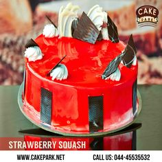 This #strawberry #cake is a lovely change from the traditional strawberry cake. Layers of rich butter #cake filled with smooth strawberry fresh cream and chocosticks. Some cakes fruity by this fabulous blend of #Strawberry #crush and #fresh #cream  Order online @ http://www.cakepark.net or Call us: 044-45535532