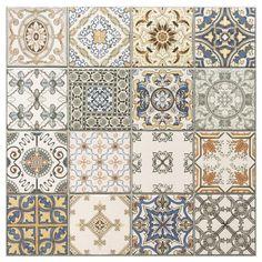 Provenzia Decorative Mix Pattern Porcelain Tile - 18 x 18 - 100340876 Cosy Kitchen, Kitchen Ideas, Patchwork Tiles, Spanish Tile, Fabric Rug, Shower Floor, Bath Remodel, Pattern Mixing, Tile Patterns
