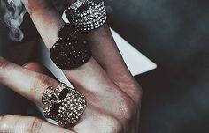 glitter skull rings