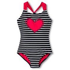 f384f9da2 Girls  1-Piece Striped Heart Swimsuit Traje De Baño Niña