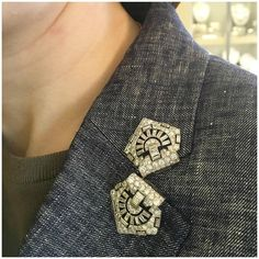 Antique diamond dress clips from Hancocks. I love this way of wearing brooches.