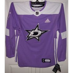 huge discount db060 e50ce Hockey Fights Cancer Dallas Stars Purple 255J Adidas NHL Authentic Pro  Jersey