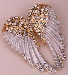 Angel Wings Crystal Brooch Pin