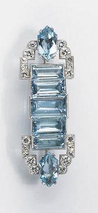 Art Deco Diamond Aquamarine And Signed Cartier London Rectangular In Shape With Five Cut Aquamarines Two Brilliant