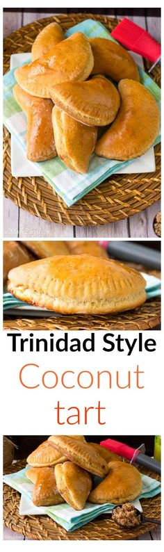 Trinidad Style Coconut Tart Trinidad Style Coconut Tart - A common Trinidad and Tobago baked pastry stuffed with blended coconut stewed with additional spices like cinnamon, nutmeg and ginger. Carribean Food, Caribbean Recipes, Carribean Desserts, Trini Food, American Desserts, Island Food, Jamaican Recipes, Mets, International Recipes