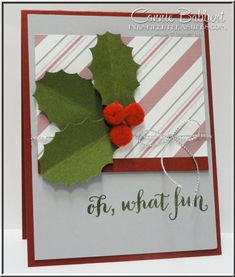 How about some holly leaves and berries to decorate for the holidays?  Oh What Fun, Punch Art, Holly, Christmas, Stampin' Up!, #stampinup, created by Connie Babbert, www.inkspiredtreasures.com