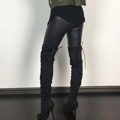 "Over the Knee Boots Sued Lace Up Boots SIZE 7 9 10 Must have booties for the season. Over the knee micro suede boots. Comfortable & a flattering look! Rounded toe. Cross cross back design is fully adjustable. Heel 4.25"" with a 1"" platform. True to Size. Boutique Shoes Over the Knee Boots"