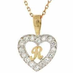 14K Gold Letter 'R' CZ Initial Heart Charm Pendant Jewelry Liquidation. $92.53. Made with Real 14k Gold. Made in USA!