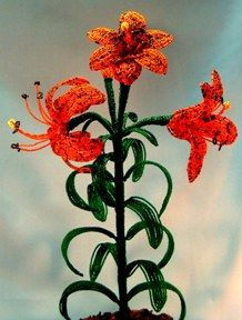 Tiger Lily  French Bead Flower Pattern at Sova-Enterprises.com Many FREE Bead Patterns and Tutorials available!
