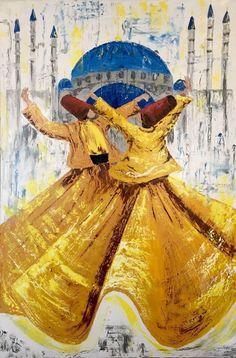 Rumi& Verses, Oil on canvas figurative painting by Sadaf Farasat x 41 in) Arabic Calligraphy Art, Arabic Art, Sketch Painting, Figure Painting, Dancing Drawings, Art Drawings, Dance Paintings, Islamic Paintings, Turkish Art