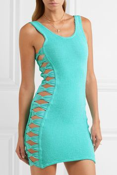 Turquoise seersucker  Slips on  88% nylon, 12% elastane  Hand wash  Designer color: Aqua  Made in the UK